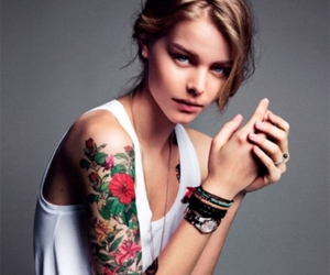 floral, girl, and tattoo image