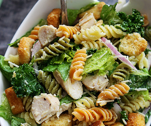 food, pasta, and salad image