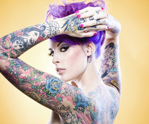 tattoo, girl, and purple image
