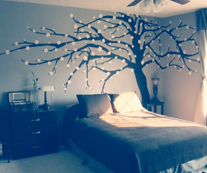 room, bedroom, and tree image