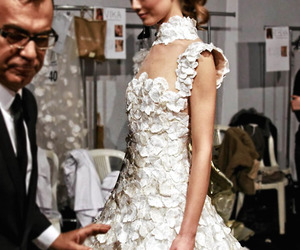 dress, white, and backstage image