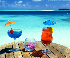 beach, drinks, and sea image