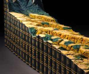 3d design, artistic mountain, and books recycle image