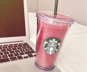 starbucks, macbook, and pink image
