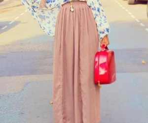 hijab, maxi skirt, and fashion image