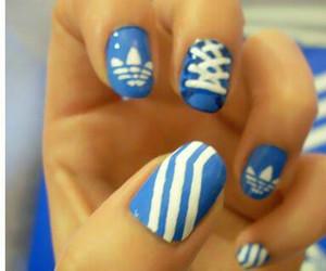 nails, adidas, and blue image