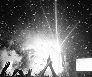 night, black and white, and concert image