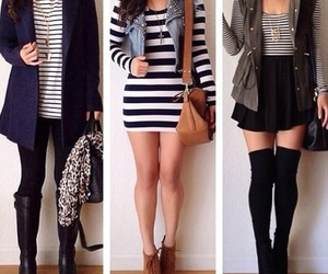 fashion, outfit, and stripes image