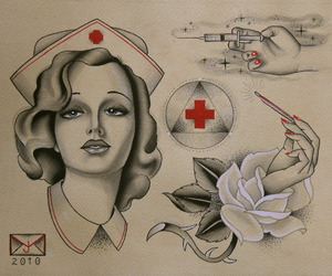 injection, nurse, and rose image