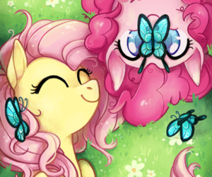 fluttershy, pinkie pie, and MLP image