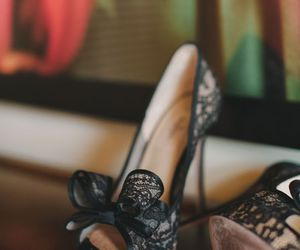 heels, lace, and Valentino image