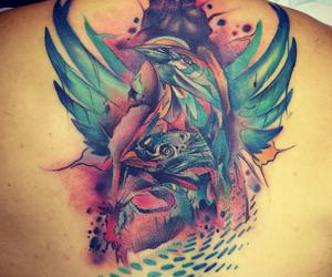 beautiful tattoo, back piece, and water color tattoo image