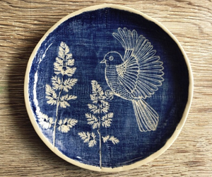 bird, blue, and plate image