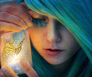 butterfly, girl, and magic image