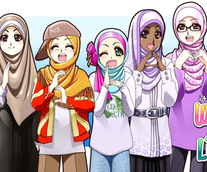 muslim, hijab, and anime image