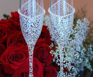 wedding, rose, and glasses image