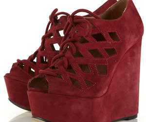red, wedges, and shoes image