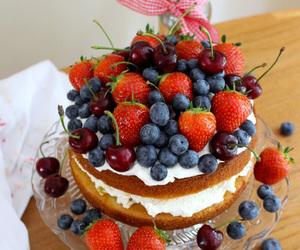 berries, cake, and sponge cake image
