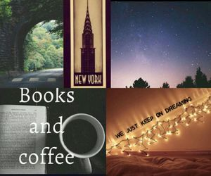 books, coffee, and Collage image