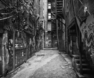 black & white, urban, and way image