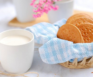 milk, biscuits, and Cookies image