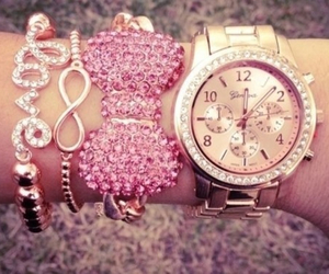 pink, watch, and love image