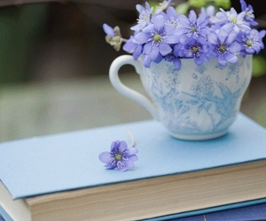 book, flowers, and blue image