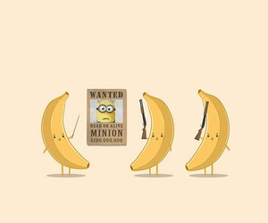 banana, minions, and wanted image