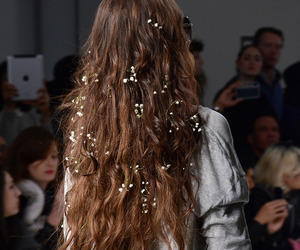 hair, flowers, and model image