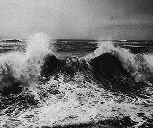 black and white, waves, and ocean image