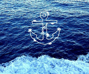 anchor, blue sea, and contrast image