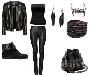 outfit, rock, and black image
