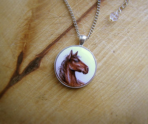 brown, animal jewelry, and horse necklace image