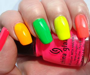nails, nail polish, and neon image