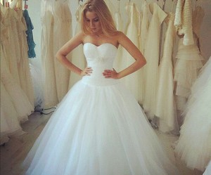 dress, strapless, and bride image