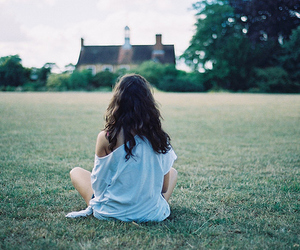 girl, grass, and house image