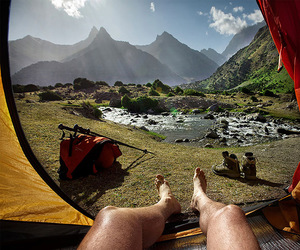 mountains, tent, and lake image
