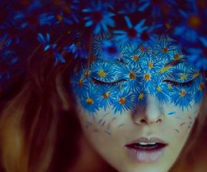 blue, flowers, and art image