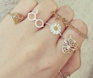 rings, diamond, and flowers image