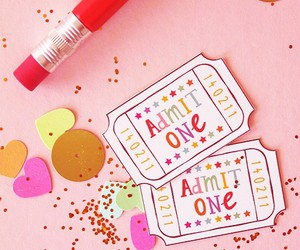 pencil, heart, and glitters image