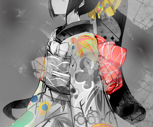 anime, black and white, and colors image
