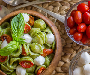 food, vegetables, and pasta image