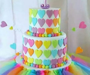 cake, colors, and hearts image