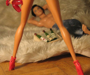 barbie, drink, and high heels image