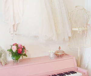 piano, pink, and rose image