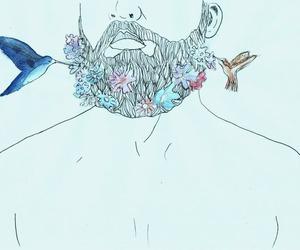 beard, flowers, and bird image