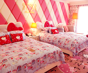 bed, pink, and girl image