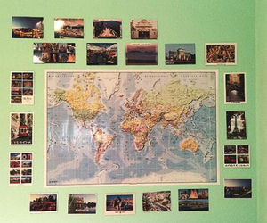 map, postcards, and room image