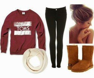 outfit, toms, and scarf image
