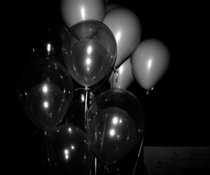 balloons, black and white, and grunge image